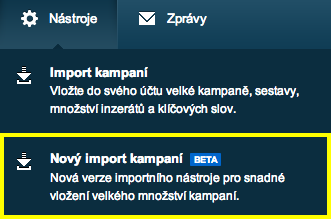 Nový import - menu